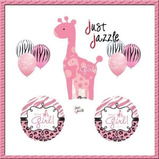Safari Its A Girl Giraffe Pink Zebra Balloon Baby Shower Party Supply