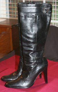 Womens Michelle K Black Leather Knee Boot 4 Kitten Heel Side Zipper