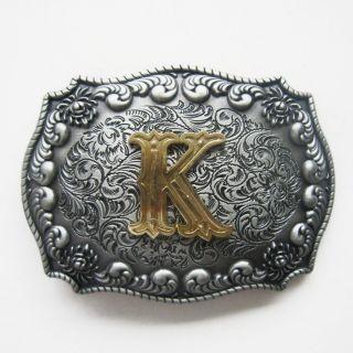 Initial Letter K Cowboy Rodeo Western Metal Belt Buckle