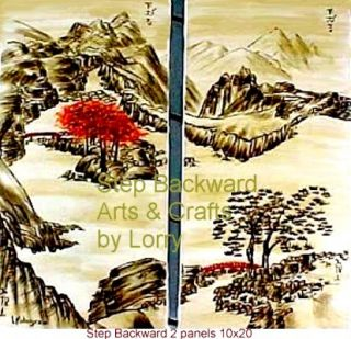 Original Oriental Japanese 2 Panel Landscape Painting