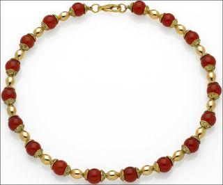 Egyptian Jewelry Carnelian Bead Cap Necklace 24 Karat Gold Plated