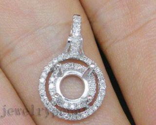 5mm Solid 14Kt White Gold Diamond Semi Mount Setting Wedding Pendant