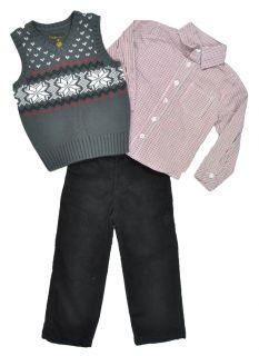 Karl kani Gold Toddler Boys Charcoal Sweater Vest 3Pc Pant Set Size 2T