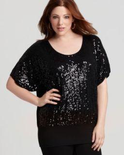 Karen Kane NEW Black Sequined Front Banded Dolman Sleeve Blouse Shirt
