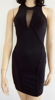 NWT KARDASHIANS BY BEBE BLACK RIBBED MESH RACERBACK DRESS SIZE SMALL