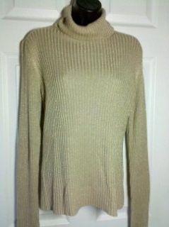 Karen Kane Gold Metalic Turtleneck Longsleeve Shirt Size L
