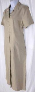 sz M KAREN SCOTT Shirt Dress Beige Khaki Linen Blend Ankle Length