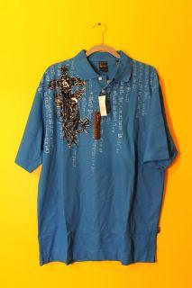 New Karl Kani Gold Cross Mens Polo Shirt Blue XL $48
