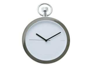 Karlsson Pocket Watch Design Chrome 10 Wall Clock Retail Boxed incl