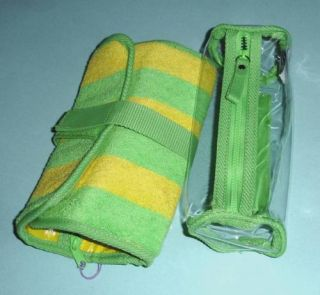 Stephanie Johnson Terry Cloth Cosmetic Bag Jewelry Roll Yellow Green