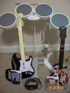 Wii Rock Band Bundle w/Drum Set, Mike, 2 Guitars & 2 Games (Rock Band