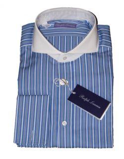 LAUREN PURPLE LABEL MENS BLUE KEATON COLLAR DRESS SHIRT SIZE 16 5