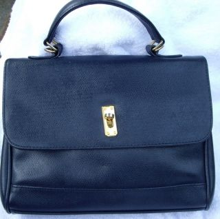 Evan Picone Navy Blue Leather Kelly Bag Purse Classic Chic