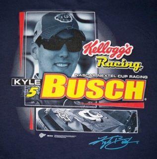 NWT Kyle Busch #5 Kelloggs Racing NASCAR Nextel Navy Blue T Shirt Men