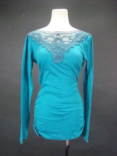 Kendall Jenner Teal Long Sleeve Mini Dress w Lace