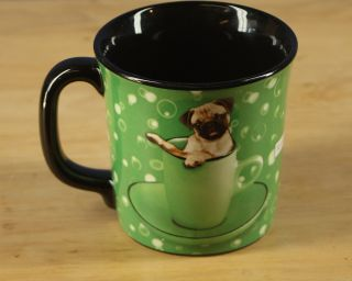 Keith Kimberlin Pug Dog Green Coffee Cup Mug 8 Oz
