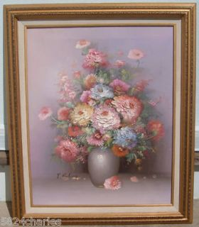 Flower Vase Original Oil Painting Signed P Keeling Still Life