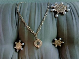 KENNETH J. LANE FOR AVON MEDALLION COLLECTION NECKLACE PIN EARRINGS