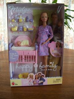 2002 Pregnant Midge Baby Barbie Doll Happy Family Mom Baby