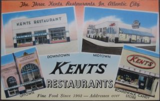 1950 Ad Postcard Kents Restaurants Atlantic City NJ