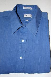Ketch Mens Blue Dress Shirt 19 34 35 New