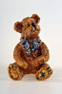 Faberge Teddy Bear Trinket Box by Keren Kopal   Swarovski Crystal