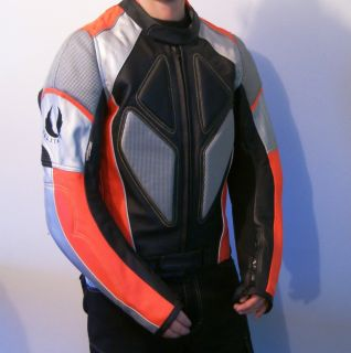 Silver Mens Motorcycle Jacket Leather Kevlar Knox Racing