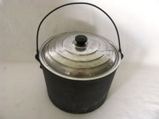 Antique Cast Iron Kettle Cauldron Wood Stove Pot w Lid