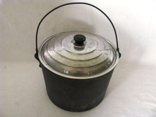 Antique Cast Iron Kettle Cauldron Wood Stove Pot w Lid
