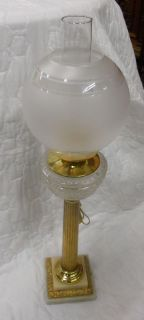 Antique Kerosene Glass Brass Column Banquet Lamp