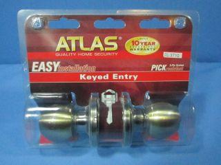 NEW ATLAS KEYED ENTRY DOOR KNOB DOOR LOCK EASY INSTALLATION HOME