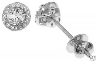 Illusion Setting Stud Earrings in Solid 14k White Gold Stamped