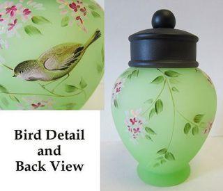 Art Glass Green Satin HandPainted Michelle Kibbe Signed TEMPLE JAR NIB