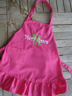 Kids Personalized Apron Pink Cook Chef Embriodered Girl Gift Kitchen
