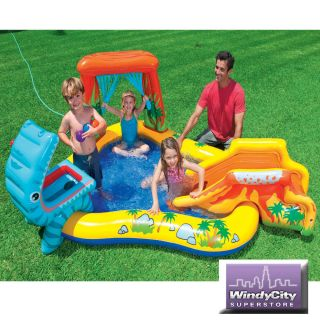Intex Kids Dinosaur Spray Water Play Center Inflatable Swimming Pool