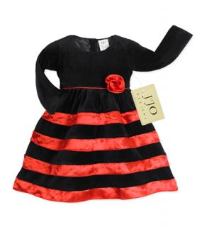 SWEET JOJO DESIGNS BABY KID GIRL HOLIDAY PARTY BLACK RED DRESS CLOTHES