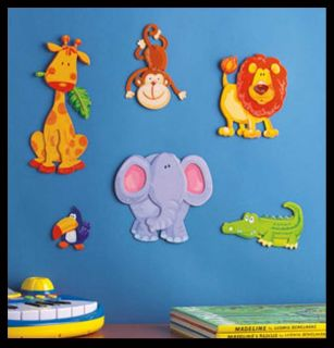 Kids Room Art 3D Wall Decor Baby Jungle Nursery Stickers Mural animals