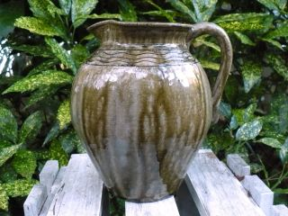 Gary Mitchell Gray Green Glazed Pottery Pitcher Catawba Valley Conover