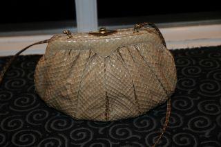 Judith Leiber Snakeskin Clutch Handbag Authentic Vintage 6x9 inches