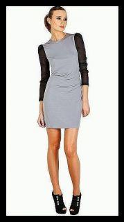 350 Kimberly Taylor Silk Natalie Dress Grey Bodycon Mini Mesh Rebecca