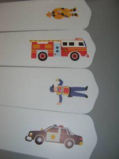 Ceiling Fan Light w Olive Kids Heroes Police Fire