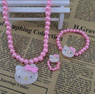Kitty Jewelry Children Kids Necklace Bracelet Set Great Gift