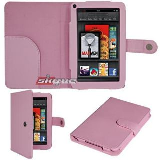 For  Kindle Fire 2 7 Leather Fitted Case Cover Pink Button Lock