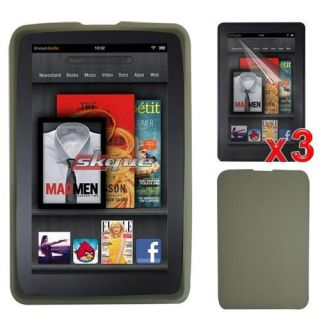 Silicone Skin Case Cover 3x Screen Protector Film For  Kindle