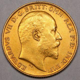 1902 King Edward VII Great Britain Gold Matt Proof Half Sovereign Coin