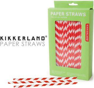 Kikkerland Design Paper Drinking Straws Box (144) Red Stripes