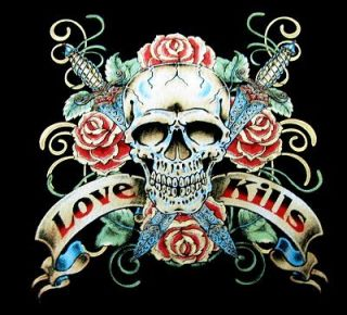 Love Kills Tattoo Art Skull Rose Knife T Shirt WS121