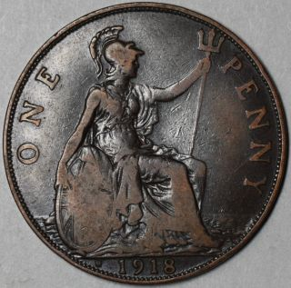 1918 H LARGE BRONZE PENNY King GEORGE V GREAT BRITAIN KEY DATE WWI