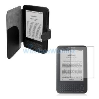 Leather Folio Case Cover Screen Protector For Kindle Keyboard 3G WIFI