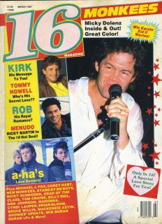 MOVIE TEEN 16 MAGAZINE A HA KIRK CAMERON MONKEES ROB LOWE RIVER